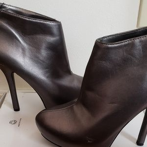 Pewter Booties with back zipper